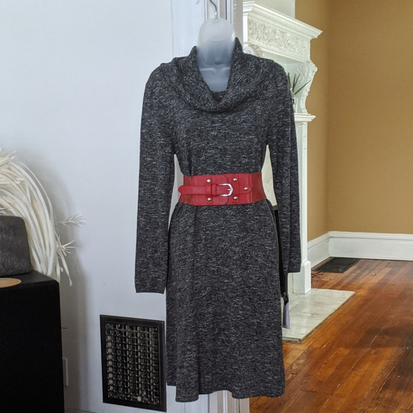 Studio One Dresses & Skirts - Studio One Charcoal Grey Sweater Dress